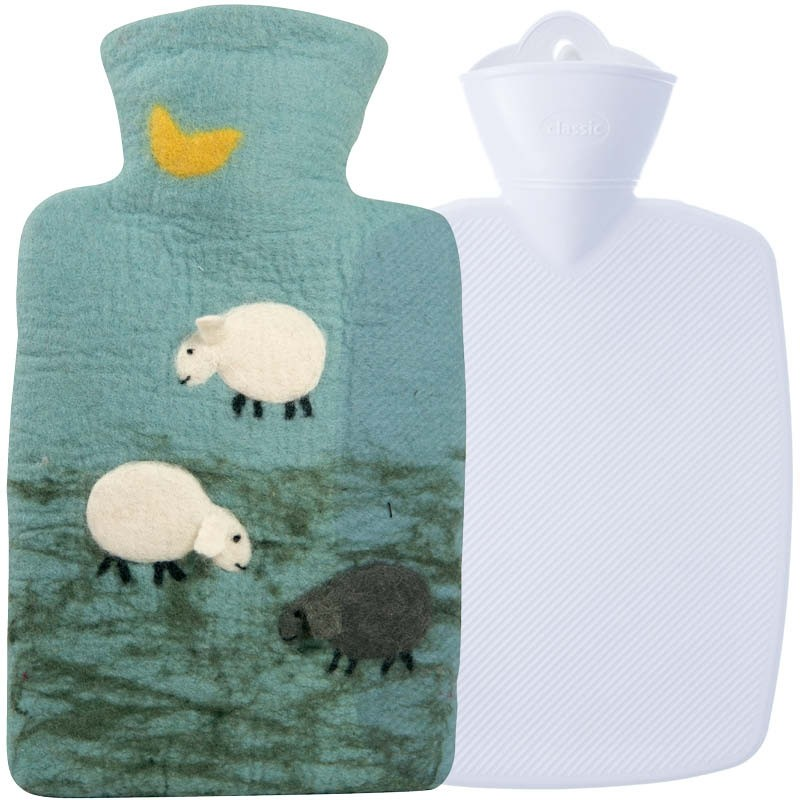 Hugo Frosch Hot Water Bottle100% Wool Cover Sheep 1.8L