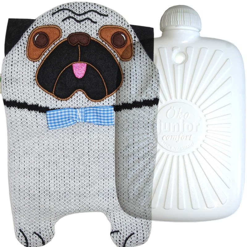 Hugo Frosch Eco Hot Water Bottle With Luxury Knitted Pug Cover 0.8L 0430