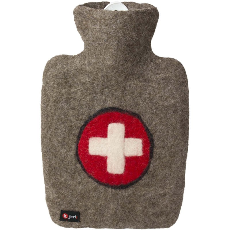 Hugo Frosch Hot Water Bottle With Luxury Felt Cover Swiss Cross 1.8L