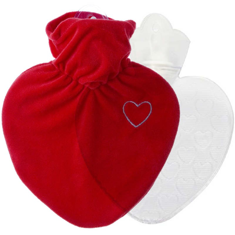 Hugo Frosch Hot Water Bottle With Love Heart Cover 1L 0206