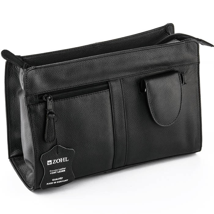 ZOHL Leather Toiletry Bag With 4Pc Manicure Set