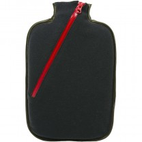 Hugo Frosch Eco Hot Water Bottle With Black Fleece Zippered Cover 2L