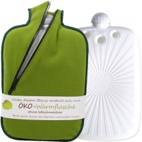 Hugo Frosch Eco Hot Water Bottle With Green Fleece Zippered Cover 2L