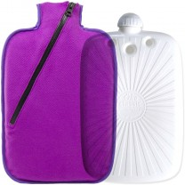 Hugo Frosch Eco Hot Water Bottle With Pink Fleece Zippered Cover 2L
