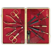 Niegeloh Solingen Luxury Kroko XL Manicure Set 24 ct Gold Plated Solingen Germany