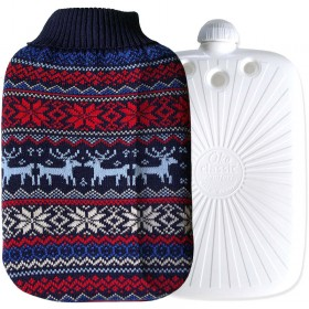 Hugo Frosch Eco Hot Water Bottle With Luxury Knitted Nordic Cover 2L