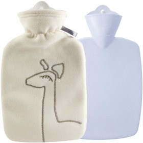 Hugo Frosch Hot Water Bottle With Luxury Fleece Cover Cream 1.8L