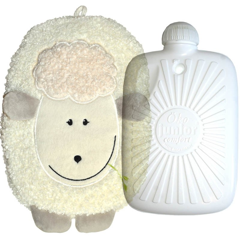 Hugo Frosch Eco Hot Water Bottle In Fleece Cover Lamb Small 0.8L