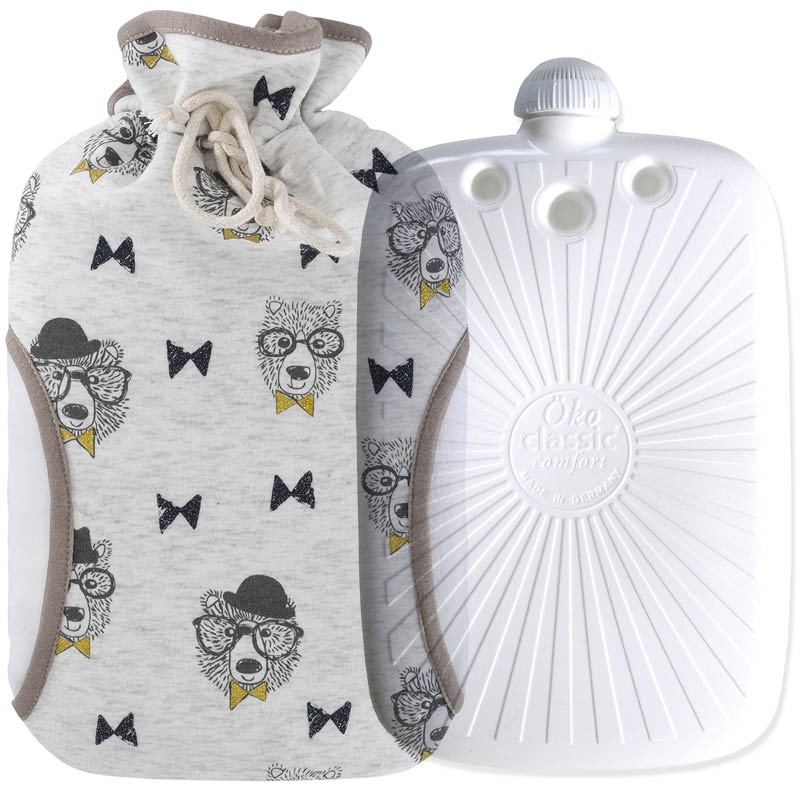 Hugo Frosch ECO Hot Water Bottle With String Fleece Cover Dog 2L