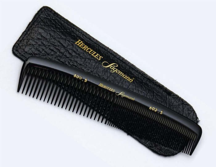 Hercules Sagemann Mens Hair Comb with Black Leather Pouch 600 602