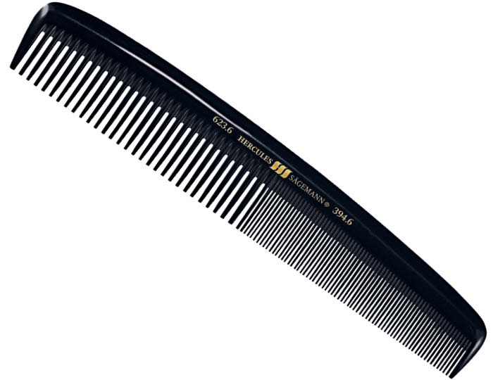 Professional German Hair Comb - Black Seamless Ebonite by Hercules 623 394