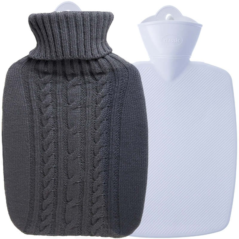 Hugo Frosch Hot Water Bottle In Luxury Knitted Cover Graphite 1.8L