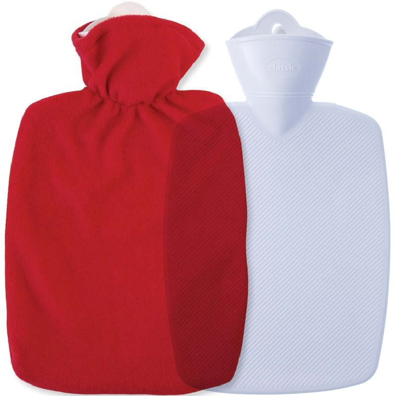 Hugo Frosch Classic Comfort Hot Water Bottle With Soft Fleece Cover Red 1.8L 0411