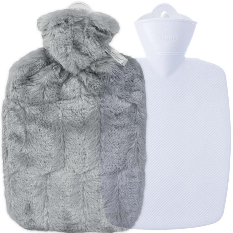 Hugo Frosch Hot Water Bottle In Soft Grey Cover Estravaganza 1.8L