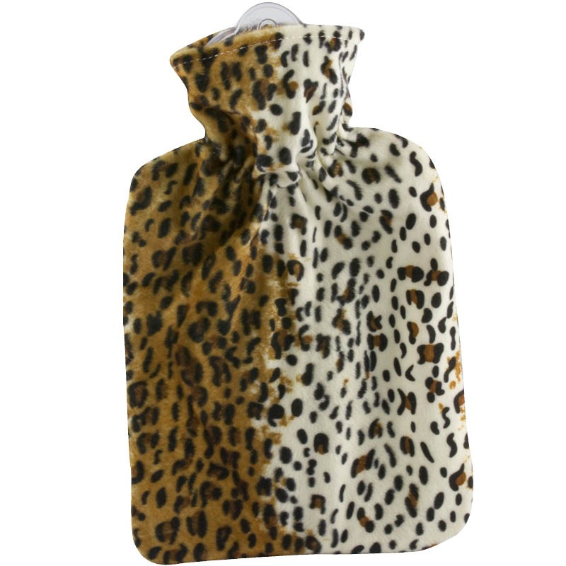 Hugo Frosch Hot Water Bottle In Double Fleece Cover Leopard Print 1.8L