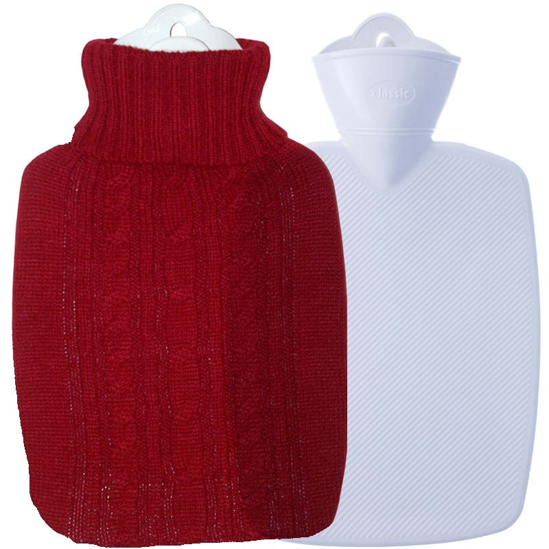 Hugo Frosch Hot Water Bottle In Luxury Knitted Cover Red 1.8L