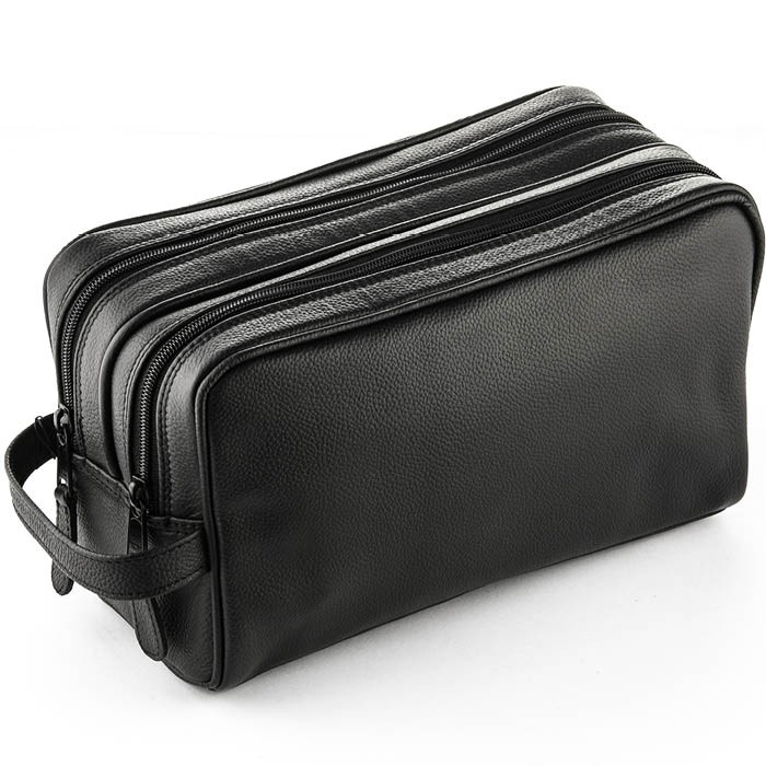 ZOHL Double Zip Leather Toiletries Bag Black XL