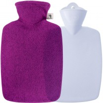 Hugo Frosch Hot Water Bottle Classic Pro In Felt Look Cover Raspberry 1.8L