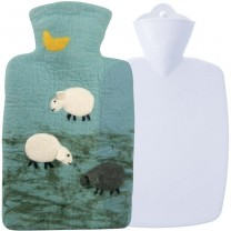 Hugo Frosch Hot Water Bottle In 100% Wool Cover Sheep 1.8L