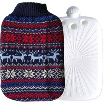 Hugo Frosch Eco Hot Water Bottle In Luxury Knitted Nordic Cover 2L