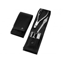 hans kniebes inox mens pedicure set black leather 5 piece germany