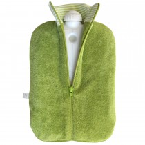 Hugo Frosch Eco Hot Water Bottle In Organic Cotton Zip Cover Kiwi 2L