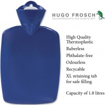 Hugo Frosch Classic Comfort Hot Water Bottle Blue 1.8 L
