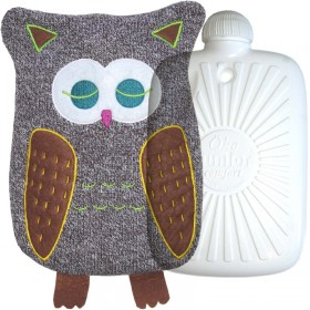 Hugo Frosch Eco Hot Water Bottle In Luxury Knitted Owl Cover 0.8L
