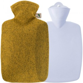 Hugo Frosch Hot Water Bottle Classic Pro In Felt-Look Cover Dijon 1.8L